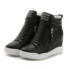 2017  heel boots Women Shoes with increased platform sole female fashion casual zip botas black 37