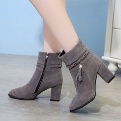 2017 suede Women Boots Tassel Ankle Boots Round Toe Winter Women Boots Ladies Party Boots gray 39