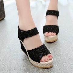 2017 New Women Sweet Buckle Open Toe Wedges Sandals Women's Platform Sandals Fashion Summer Shoes black 40