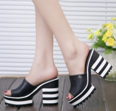 new sandals women genuine leather sandals thick heel slippers woman platform wedges summer shoes black 35