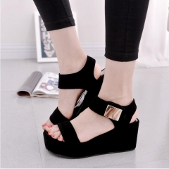 2017 summer new Korean muffin thick crust slope with high-heeled black shoes black 35