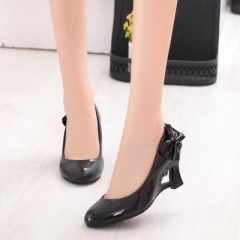 2017 Womens High Heels Shoes Strange Heart Heels Woman Pumps Bowtie Office Wedding Bridal Shoes black 35