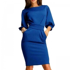 2017 Women Work Office Dress Half Sleeve O-Neck Elegant Ladies Bodycon Bandage Slim Party Dress blue s