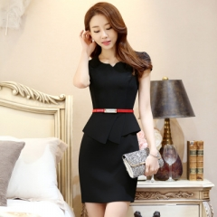 Summer Style Wear Women's Elegant Short Sleeve V-neck vestidos femininos Work Wear Without Belt black s