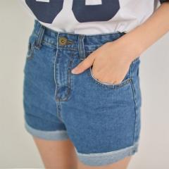2017 Summer New Brand Trendy Slim Casual Plus Size Womens High Waist Shorts blue s