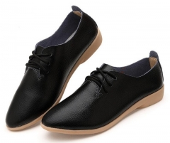 Genuine Leather Oxford Shoes For Women Round Toe Lace-Up Casual Shoes Spring And Autumn Flat Loafers black 5.5 US