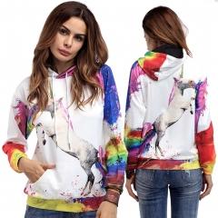 Hoodie Sweatshirt Women Fall Winter Long Sleeve Colors 3D Print Fashion Shirts Cotton Tops as picture s