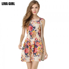 Women Floral Print Retro Sleeveless Casual Sexy Party Office Work Vintage Mini Dress Beach as picture l