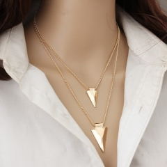 Fashion sexy necklace, double metal necklace For Women Jewellery gold chain Glod one size