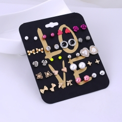 20 Pair/Set Fashion Women Accessories Stud Earring Set Love Heart Pearl Wholesale Earrings Mix multicolor one  size
