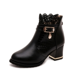 New rough with women boots short tube waterproof table lace Martin boots round head shoes black 36