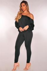 2 Piece Female Sexy  Tracksuits Women Set Long Sleeve Sweatshirts Pencil   Trousers Suits black s