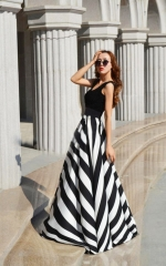 Summer new black and white stripe printed casual long   sleeveless swing dress slim dress as picture s
