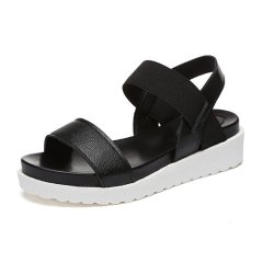 New flat minimalist sandals women's waterproof platform elastic casual with the women's shoes black 35
