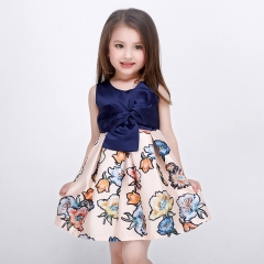 Girls Dress Flower Bow Kids Floral Printed   Princess One Piece Daily Dress as picture 160cm