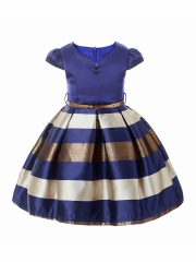 Fashion Stripes Girls Elegant Princess Wedding Party Dresses blue 160cm