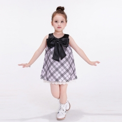 Summer Striped Pattern Girls Dress Princess Bow   Dress purple 90cm