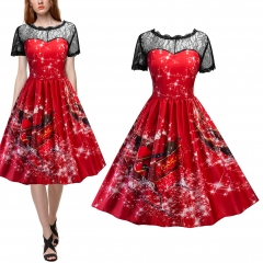 Women Christmas Carriage Snowman Printed Vintage  Red Christmas Party Dress red s