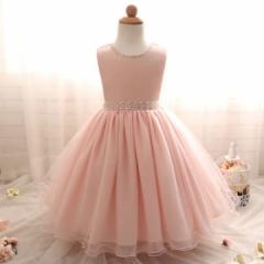 2017 New summer Pink Children Dresses For Girls Kids Formal Wear Princess Dress pink 80cm
