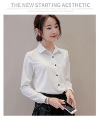 Female Big Sizes long Sleeve Shirt Fashion Bodycon Leisure Chiffon Blouse Tops white s