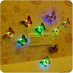 2 pcs Romantic Butterfly LED Night Light Wall Lamp Home Decoration Color Random one  size