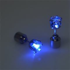 Hot Sale Charm LED Earring Light Up Glowing Crystal Stainless Ear Drop Ear Stud Earring Jewelry blue one  size