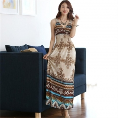 Women Bohemian Sleeveless V Neck Long Dress Casual Vintage Print A Line Maxi Dress as picture one size