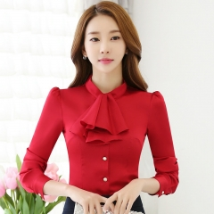 Office lady long sleeve Shirt  Professional  women  blouse solid color Ribbon clothing shirt red s