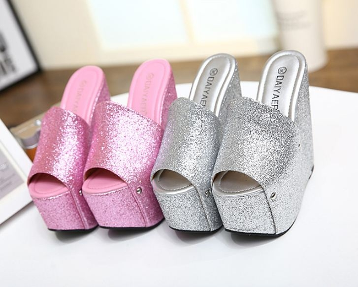b6ee524c632 Europe nightclub women sexy sequins 17CM high thick a word sandals slippers  shoes. Color pink