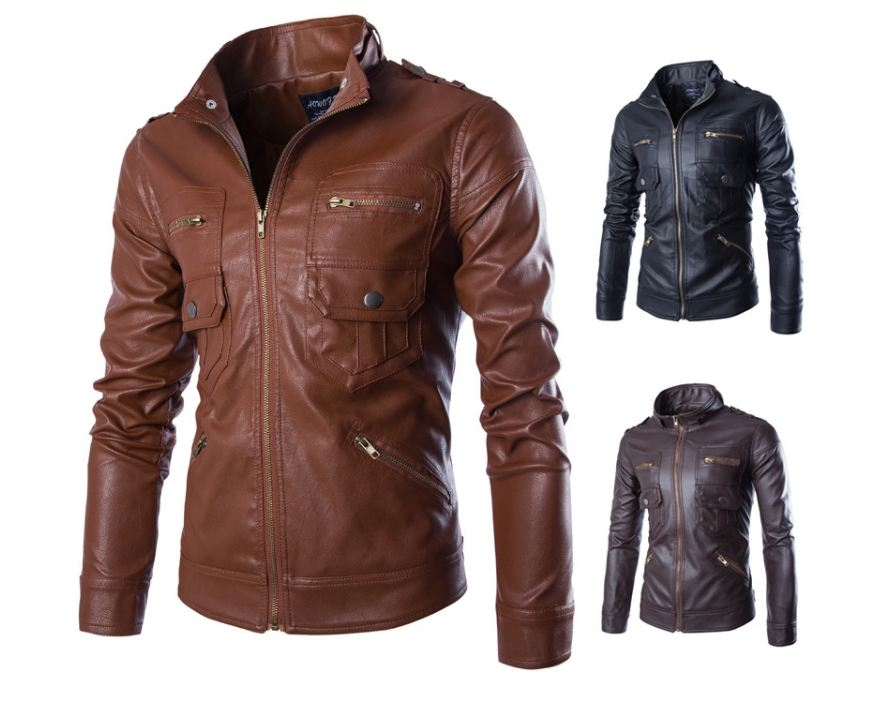ed4d35be900 New style multi-pocket men s leather jacket British stand collar motor leather  coats jackets. Color black