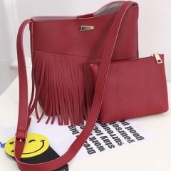 DoubleBetter Women's Handbags with Wallet 2 Pieces Set,Handbag Plus Purse Wine Red 30cm-8cm-25cm