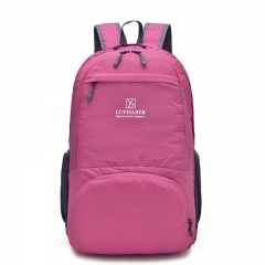 outdoor waterproof movement backpack Ultra-light fold Multifunction backpack rose red one size