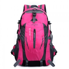 High capacity outdoor backpack backpacks men and women on foot Travel bag Riding a bagRiding a bag rose red one size