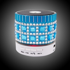 Card Mini Crystal Bluetooth Speaker Wireless Bass Led Small Sound blue one size