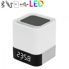 Wireless Bluetooth Speaker Portable Touch Led Alarm Clock Card Table Lamp Sound Bluetooth Bass white one size