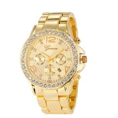 Three eyes Men Watch Geneva Male Watch Diamond Watch Steel Strip Quartz Watches gold