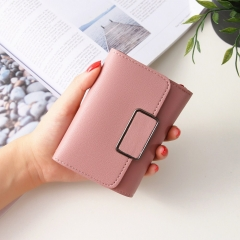 Short Section Simple Fashion Litchi Pattern Female Solid Color Three Fold Student Wallet pink one size