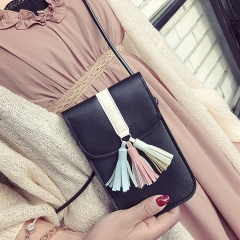 Retro Tassel Coin Purse Mobile phone Bag Leisure Fashion Shoulder Oblique Cross Package Ms Package black one size