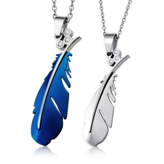 The New Pure Steel Necklace Titanium Steel Fashion Feather Pendant Couple Necklace blue one size