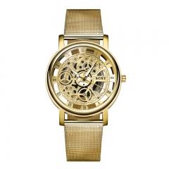 Men Upscale Quartz Watches Male Alloy Mesh Belt Trend Simple Watch gold