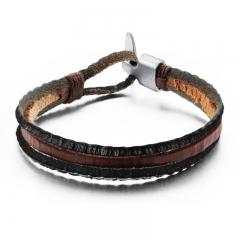 Men Cool Personality Retro Alloy Fashion Buckle Leather Bracelet black one size