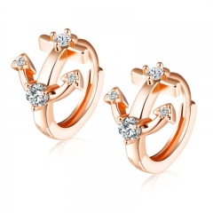Fashion Zircon Earring Ms Elegant Exquisite Simple Earring rose gold one size