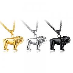 Creative Titanium Steel Haibi Dog Modeling Pendant Men Fashion Leisure Necklace gold one size