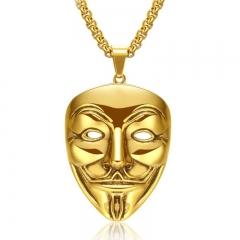 Men V Word Killers Retro Pendant Men Mask Long Section Accessories Pendant gold one size