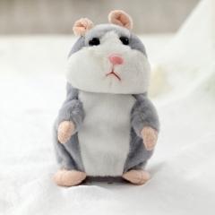 Cartoon Intelligent Will Speak Will Walk Lovely Recording Small Hamster Child Plush Toy gray one size