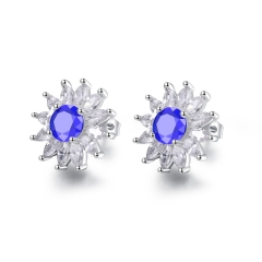 Fine Micro Inlay Ms Earring Fashion Plating Platinum Temperament Earrings blue one size