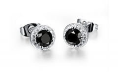 Sky Stars Zircon Ms Earrings Fashion Platinum Round Micro inlay Earring black one size