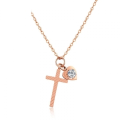 Fashion Fresh Love Cross Ms Personality Titanium Steel Rose gold Clavicle Chain gold one size