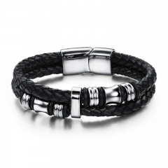 Western Style The New Personality Men Fashion Stainless Steel Leather Bracelet black one size