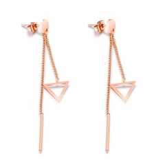 Fashion Simple Temperament Inverted Triangle Personality Long Section Prevent Allergy Earring gold one size